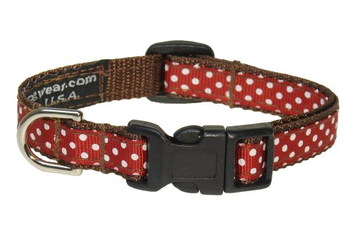 "XSmall Rust/White Polka Dot Dog Collar: 1/2"" Wide, Adjusts 6-12"" - Made in USA. -  Sassy Dog Wear, P012-CXS"