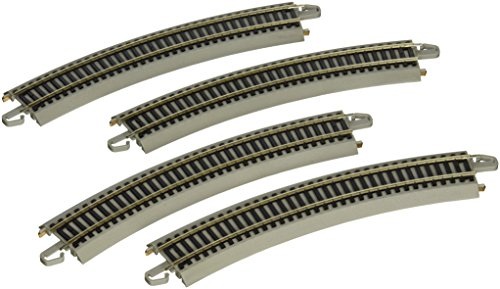 Bachmann Trains E-Z TRACK REVERSING 18' RADIUS CURVED (4/card) - NICKEL SILVER Rail With Grey Roadbed - HO Scale