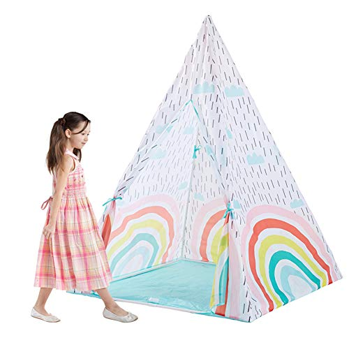 Kids Teepee Tent Opvouwbare Play Tent Portable Dream Rainbow Print Teepee Met Stoffen Tas Voor Indoor Outdoor