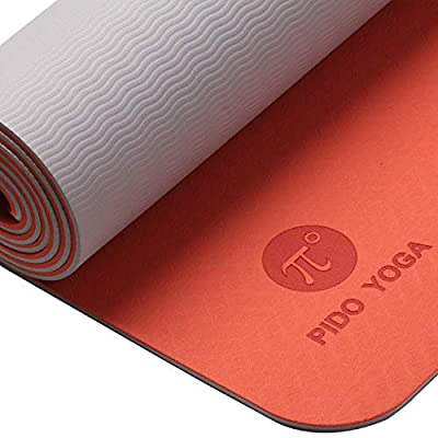 "WWWW pido TPE Yoga Mat ECO Friendly SGS Certified Non Slip Yoga Mat with Carring Strap and Bag,72""x24"" Thichness 1/4"" for Yoga Pilates Fitness Exercise Mat(Orange + Grey)"