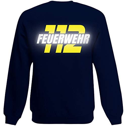 Shirt-Panda Herren Feuerwehr Sweatshirt · Feuerwehr 112 · Feuerwehrmann Sweater Bedruckt · Pullover für Feuerwehrleute · Druck auf Brust & Rücken · Unisex · Dunkelblau (Druck Gelb/Reflex) XL