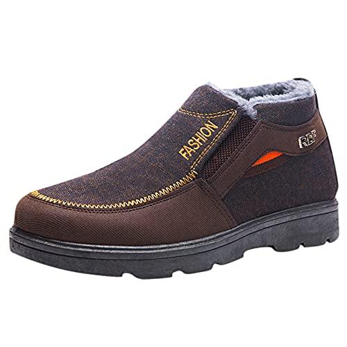 Binggong Winterschuhe Herren Plateau Worker Boots Schuhe Männer Stiefeletten Warm Gefüttert Winterboots Flache Schuhe kurze Stiefel Baumwollschuhe Schneestiefel Wanderstiefel Ankle Boots