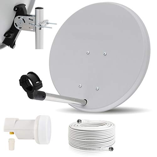 Digitale Camping Sat Anlage Spiegel 40 cm Single LNB 0,1 dB + Koaxialkabel 10m Kabel Balkon Caravan Mobil Schüssel Antenne OPTICUM für HDTV HD Sky 3D 4K geeignet