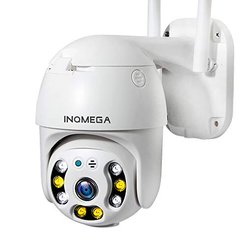 INQMEGA PTZ Camera Outdoor, 1080p Wireless Security IP Camera, 2.4G Wifi Pan Tilt 4X Zoom, Two Way Audio, Color Night Vision, Waterproof Surveillance CCTV, Motion Detection Alarm, Support Max 128GB SD