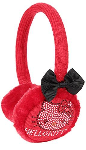 Orecchini per bambina con fiocco e strass, motivo: Hello kitty, colore: rosso/nero