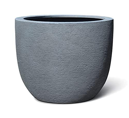 VAPLANTO® Pflanzkübel Egg Pot 60 Stein Grau Rund XL * 55 x 55 x 46 cm * 10 Jahre Garantie