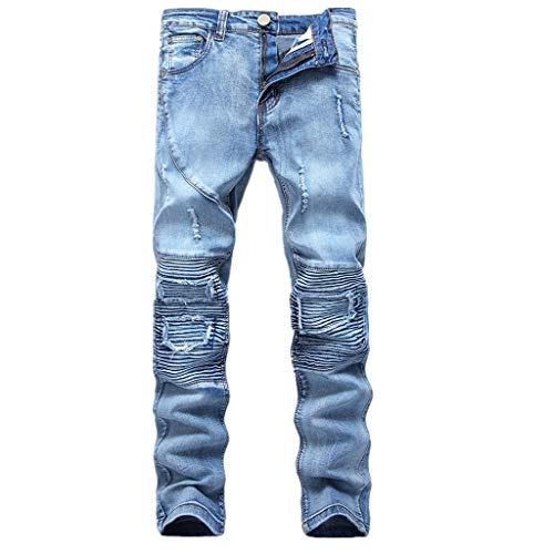 Fashion Biker Jeans for Men,Forthery Ripped Distressed Destroyed Jogger Jeans Teen Boys Washed Slim Fit Leg Denim Pants(Light Blue,28)