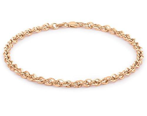Carissima Gold Unisex Hollow 3.1mm Diamantschliff Prinz von Wales Armband Rotgold 19 cm/7.5 zoll 5.29.4322