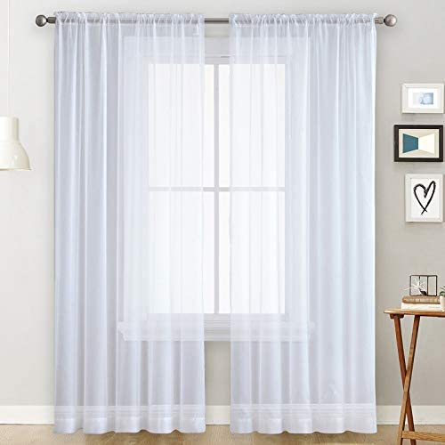 Basic Rod Pocket Sheer Voile Window Curtain Panels White 52 W x 63 L inch Long 1 Pair product image