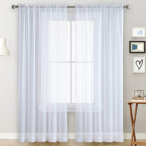 Basic Rod Pocket Sheer Voile Window Curtain Panels White 52 W x 72 L inch Long 1 Pair