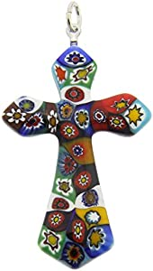 GlassOfVenice Colgante de cristal de Murano con diseño de cruz elegante Millefiori
