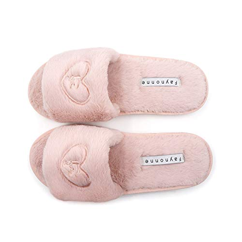 Faynonne Indoor Outdoor Slippers,Womens Plush Faux Fur Fuzzy Slide On Open Toe Slipper with Memory Foam Slip on Anti-Skid Sole Pink