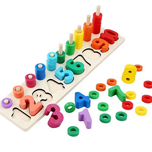 AILSAYA Stapeln Von Mathe-zählspielen, Holzzähl- Und Frühförderungszahlen - Kinder-Mathematik-lernspielzeug Vorschul-brettspiel Baby-entwicklungsspielzeug Für Jungen Mädchen 3 4 5 Jahre Alt