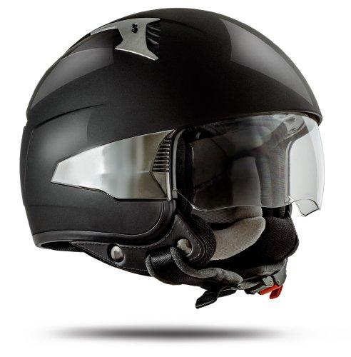 ATO-Helme Rimini Casque Jet avec visière (conforme à la norme de sécurité ECE 2205 Taille S à XL) noir brillant S 55/56 cm noir (ultra brillant)
