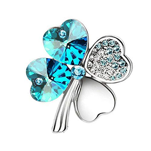 Regalo per il giorno delle donne Spilla con quadrifoglio in cristallo austriaco Accessori donna Gioielli di moda-Argento blu oceano