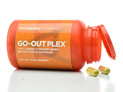 Mt. Angel Vitamins - Go Out Plex, Tart Cherry Concentrate, Black Cherry Fruit Extract & Celery Seed Extract and Tumeric, Lowers & Supports Healthy Levels of Uric Acid(90 Vegetarian Capsules)