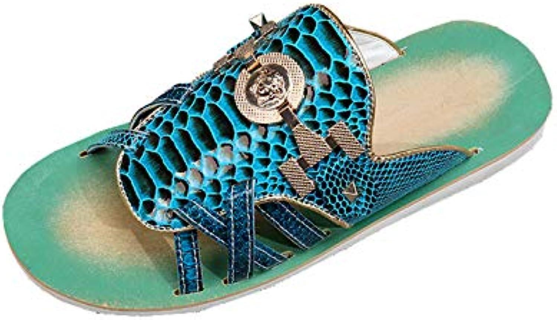 Men's Sandals shoes Snake Skin Open Toe Beach shoes Roman Leather Breathable Rhinestones Comfortable Non Slip Shower Summer,bluee