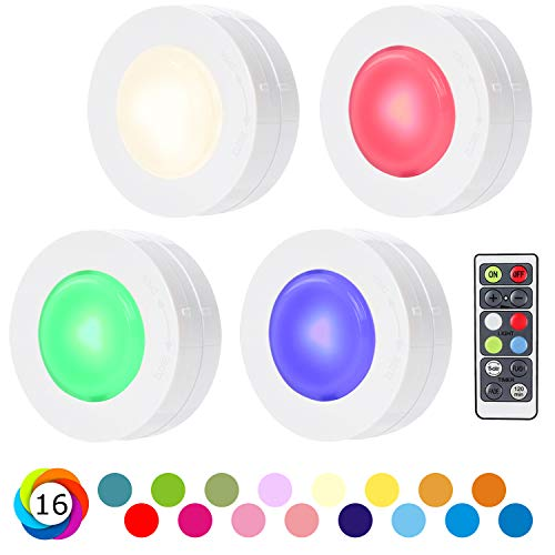SALKING Schrankleuchten LED Nachtlicht mit Fernbedienung, Halloween RGB Leuchtmittel Dimmbar, Farbwechsel Birnenmit 16 Farben, Treppen Licht, Schlafzimmer, batteriebetrieben und 3M Klebend, 4er