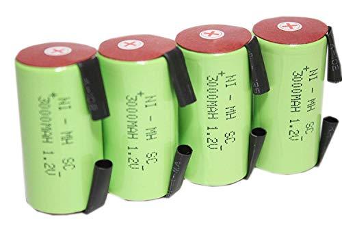 正規容量 国内から発送 22.5x43mm NI-MH Sub-C SC ニッケル水素 ミニ単2 サブC セル エアガン 電動ガン ドライバー ドリル 工具 掃除機 充電池 バッテリー (4)