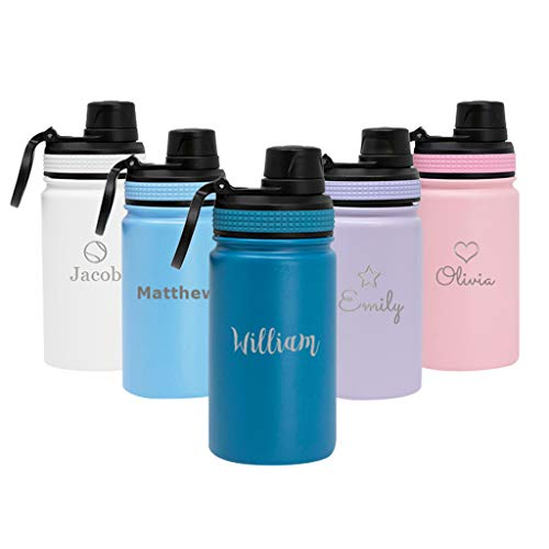 MIRA 12 oz Personalized Stainless Steel Insulated Water Bottle - Customized Sports Bottle with Laser Engraving - Thermos Flask Keeps Cold for 24 Hours, Hot for 12 Hours - Spout Lid Cap - Denim