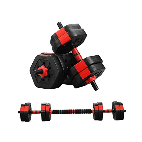 ZENOVA 2 in 1 Adjustable Dumbbell Barbell Set,Weight Set 22/33/44/88 Lbs, Gym Workout Dumbbell Set with Connecting Rod,Lifting Dumbbells Used As Barbell for Whole Body Workouts (88LBS)