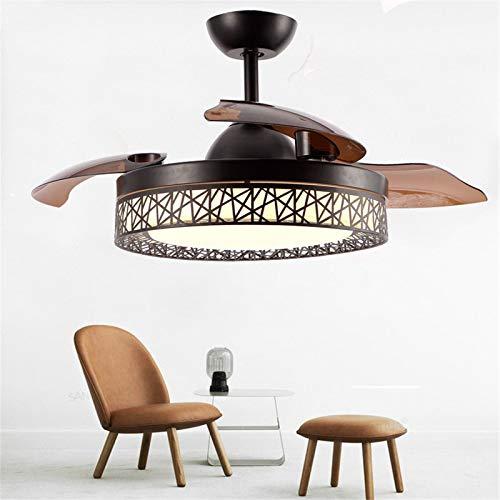 YING Ventilador Invisible, Moderno Simple Dormitorio Sala de Estar Restaurante Formador de Techo Lámpara-Negro