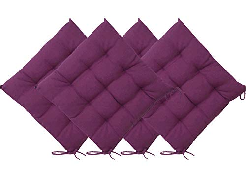 Casabella Pack of 4 Seat Pad for Dining Chair Garden Kitchen Chair Cushion With Tie On_9 Stitch_Purple Indoor/Outdoor Comfortable chair pads for Kitchen seat pads 9 stitch cushions