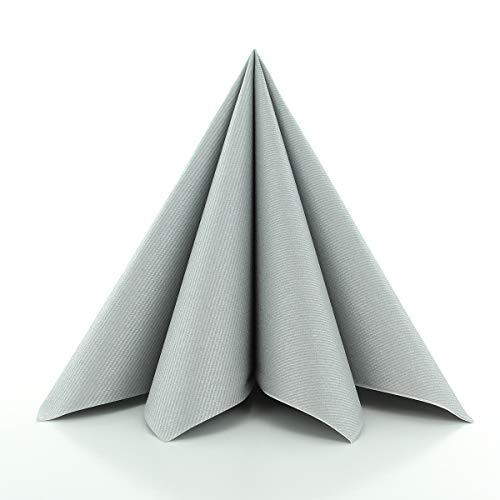 Sovie HORECA Airlaid-Servietten 40x40 cm | hochwertige Einweg-Servietten | extrem saugstark und stoffähnlich | ideal für Hochzeit & Partys | 50 Stück | Silber