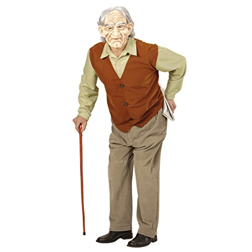 Amakando Alter Mann Herrenkostüm Opa Kostüm XL 54 Großvater Outfit Karneval Greis Verkleidung Bad Taste Party Accessoires Senior Faschingskostüm Herren