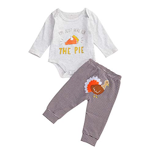 Baby Boy Girl Thanksgiving Outfits Set Long Sleeve Print Romper+ Striped Turkey Pants 2Pcs Pajamas Clothes (White Grey, 3-6 Months)