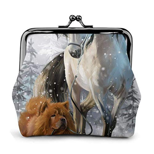 Trista Bauer Chow Dog White Horse Snow Winter Themed Vintage Pouch Girl Kiss-Lock Monedero Monedero Monederos Hebilla Monederos de Cuero Llavero Mujer Impreso Novedad Mini