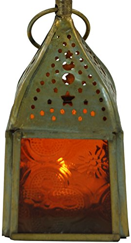 Guru-Shop Glazen Lantaarn, Lantaarn, Theelichthouder van Messing in 7 Kleuren, Oranje, Kleur: Oranje, 10x5,5x5,5 cm, Oosterse Lantaarns