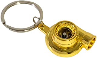 AJP Distributors Inc JDM Sport Gold Turbo Charger Keychain Key Chain Keyring Hook Ring Spinning Stylish Fashion JDM Turbocharger Turbine