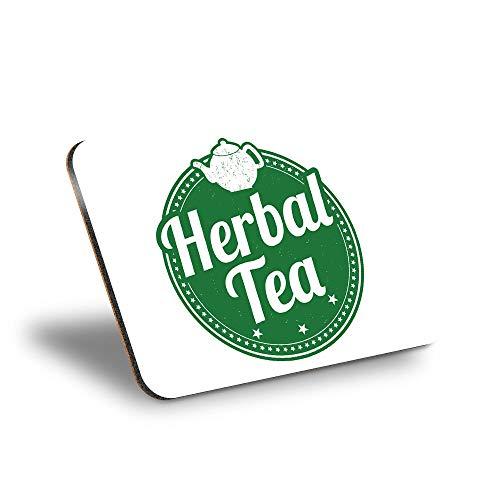 Destination Vinyl ltd Mantel individual de corcho 290 x 215 – verde herbal té tetera etiqueta lugar de trabajo/mesa/mantel limpiable/impermeable #4231