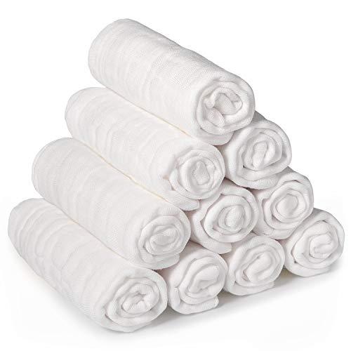Momcozy Baby Waschlappen, 10 Stück 30 x 30 cm Mullwaschlappen Baby, Musselin Waschlappen Baumwolle 100%, Weiche Mulltücher Baby, Wiederverwendbare Baby Gesichtstücher für Bad, Hände, Unisex, Weiß