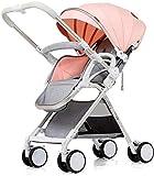 LYP Triciclo Bebé Trolley Trike Cochecito de bebé, Cochecito, Puede Sentarse a la luz Plegable reclinable BB Pulso de Mano pequeño, Paraguas, 0-3 años de Edad, Cochecito de bebé. (Color : Pink)