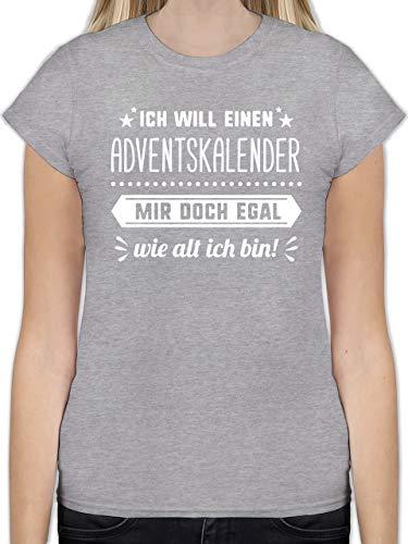 Weihnachten & Silvester - Ich Will einen Adventskalender Mir doch egal wie alt ich Bin - XXL - Grau meliert - L191 - Tailliertes Tshirt für Damen und Frauen T-Shirt