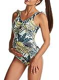 CORAFRITZ Tankini de maternidad de una pieza de impresión traje de baño embarazada traje de baño para mujer retro ropa de playa