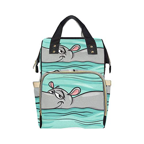 Big Swimming Hippo Lovely Animal Nappy Backpack Diaper Bag Mom Dad Changing Large Capacity Multi-function Nappy Tote Diaper Bag For Baby Girl Boy