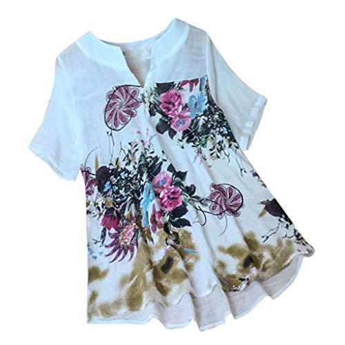 VEMOW Camisetas Blusas Manga Pico con Estampado Floral de Manga Corta con Cuello en V Top para Mujer Tops(Blanco,2XL)