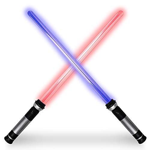 Lightsaber Light Up Saber 2-in-1 LED FX Dual Laser Swords Set with Color Change Lights & Sound Effects for Halloween Costume Party and Xmas Presents,Role-Play Galaxy Warriors Support Dueling