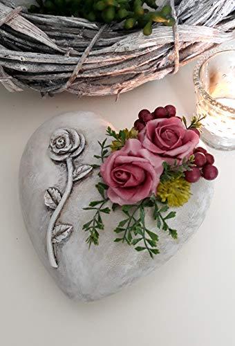 Grabgesteck Herz Rose erika Grabdeko Gesteck Grab Urnengrab Gedenktag Trauergesteck