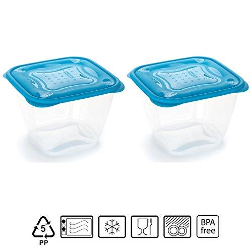 Set de 2 Coupelles hermeticos carrés avec couvercle bleu de 1,7 litres – BPA Free.