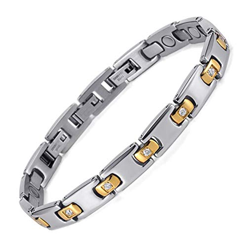 Ms. Magneet Energie Armband, RVS Diamant Magneet Armband voor de behandeling van Artritis en Karpaal Tunnels, Zilver Goud