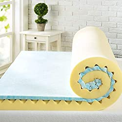 Zinus 4 Inch Swirl Gel Memory Foam Convoluted Mattress Topper