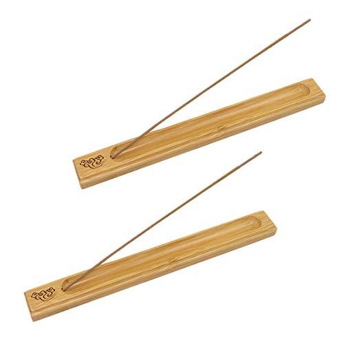 Soporte para varillas de incienso, recogedor de cenizas, madera de bambú, 2...