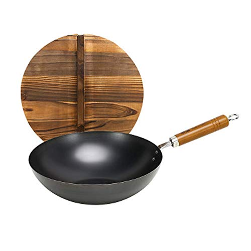 zyl Wok with lid non-chemical induction wok 100% carbon steel chinese wok scratch resistant flat bottom carbon steel chinese wok 36 cm
