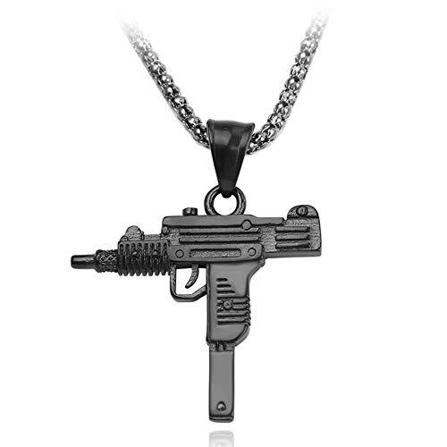 Rafraîchissez Gothique Hip Hop Uzi Kolye Gun Forme Pendentif Collier en Or Armée Couleur Argent Noir Style Homme chaîne Hommes Colliers Bijoux,Noir