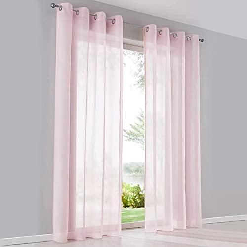 SIMPVALE 2 Panneaux Rideaux Voilages à œillets Semi-Transparents pour fenêtres, Balcon, Salon (Largeur 140cm x Hauteur 225cm, Rose)
