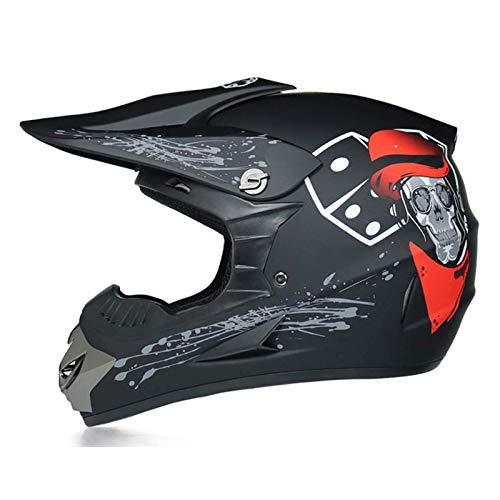 qwert Casco de Motocross para Motocicleta Adultos, Casco de MTB Integral con Gafas/Guantes (3 Piezas), Aprobado Dot, Equipo de Protección Casco de Choque Motocicleta Todo Terreno (S/M/L/XL)